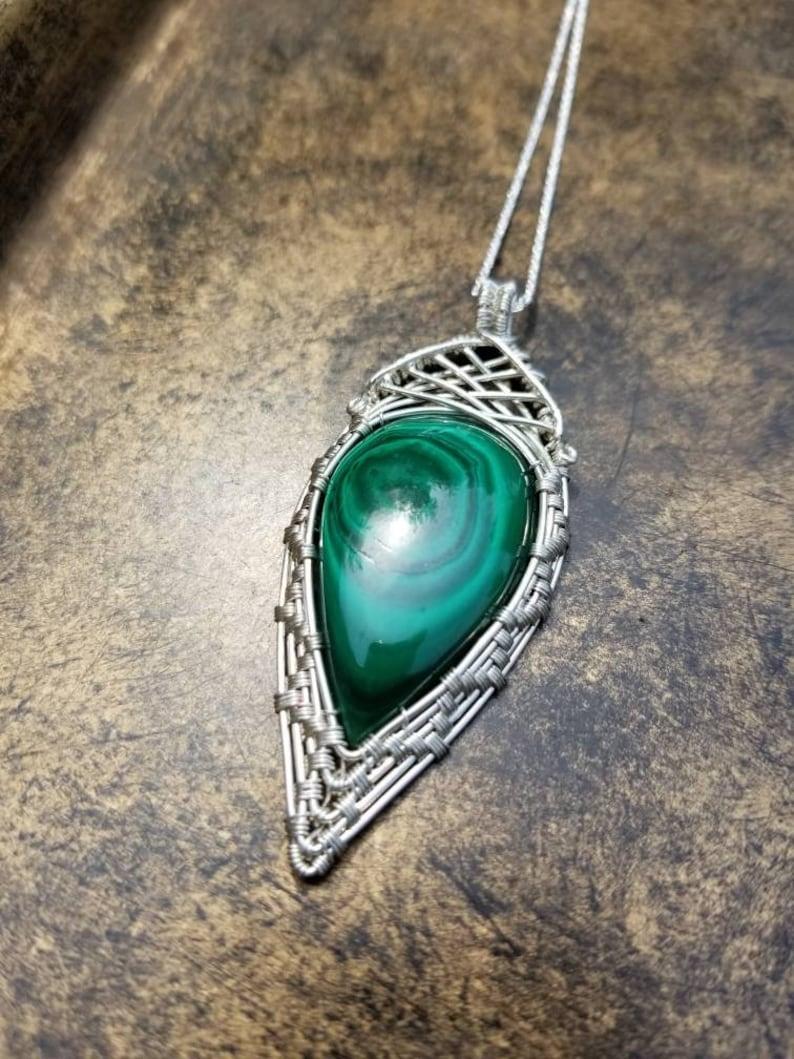 Non-Tarnish /& Hypoallergenic Malachite Pendant Includes Necklace! Wire Wrapped Artwear Handcrafted with .999 Fine Silver