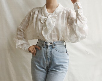 441137e5c435c6 Vintage Sheer White Long Poet Sleeves Blouse With Bow Tie, Victorian Style  Blouse, Tie Neck Blouse, Romantic Blouse, Pussy Bow Blouse