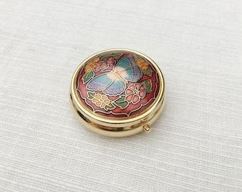 Vintage Gold Tone Metal Trinket Box With Floral Enamel Design, Vintage Pill Box, Vintage Box, Jewelry Box, Metal Trinket Box, Gold Box