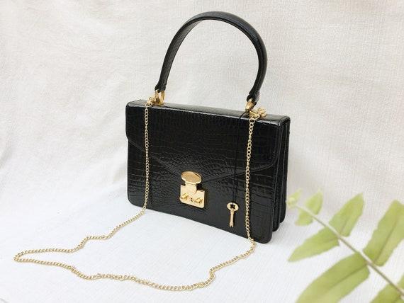 Vintage Embossed Black Leather Hand Bag/Cross body