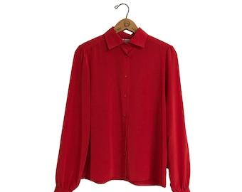 f7f20b55cde55f Vintage Womens Blouse Button Up Red 1980s Polyester Worthington Chic     Women s Size XS Small Medium