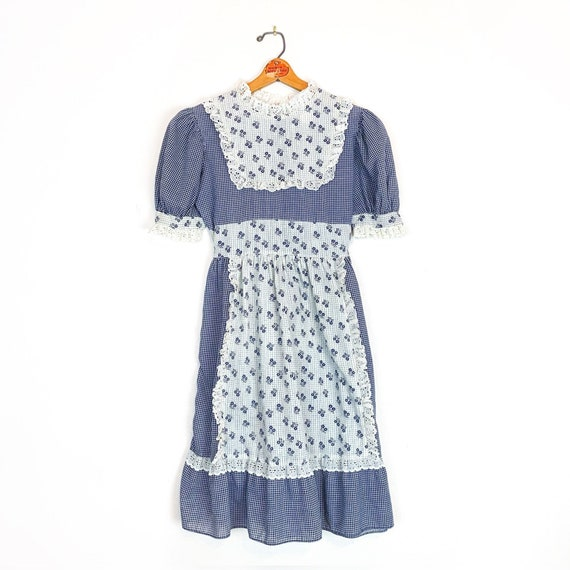 Vintage Dress | Navy Blue and White | Floral and P