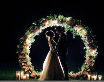 Wedding arch decor etsy 2 in 1 passable and impassable metal wedding round arch wedding backdrop floral arch bohemian backdrop ceremory arch junglespirit Choice Image