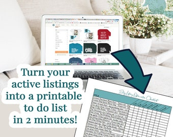 Etsy Listing Optimization Checklist | Printable To Do List from your Active Listings | Excel Template | Etsy Planner | Etsy Checklist