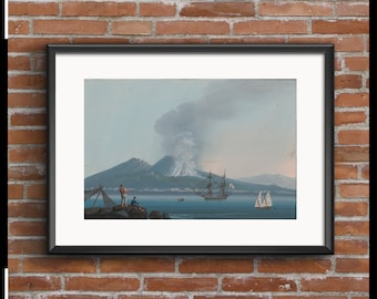 Drawing shows two fishermen on rocks along the coastline of Naples during a minor volcanic eruption of Vesuvius