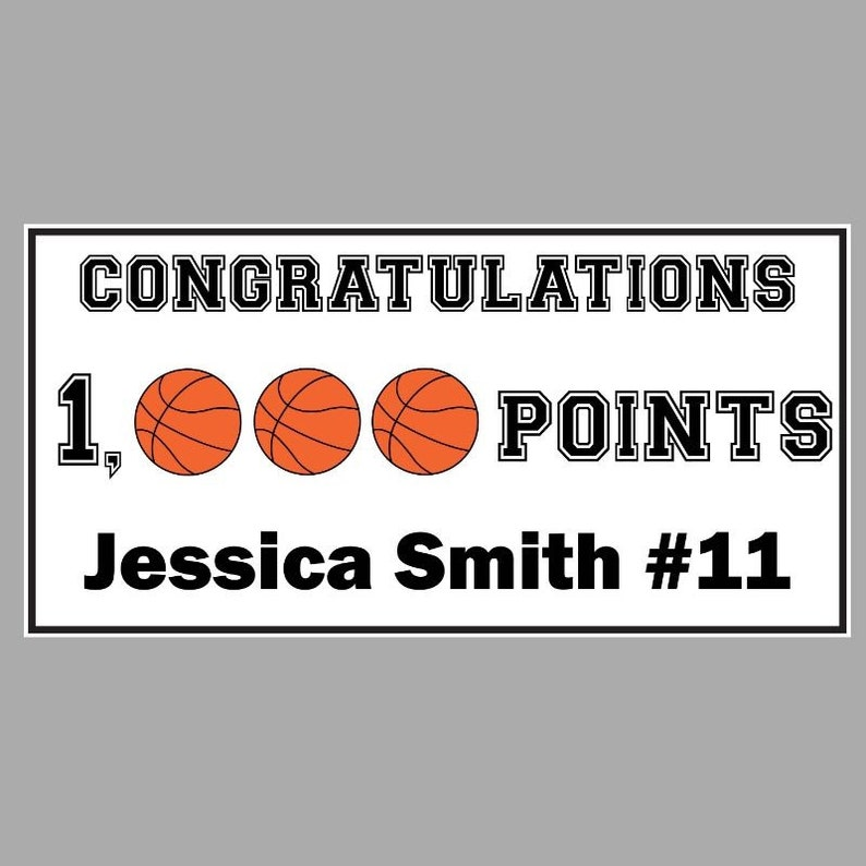 x 4ft Basketball 1,000 Points Banner Custom Personalized 1000 Points Banner 2ft