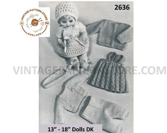 """60s vintage 13"""" 14"""" 15"""" 16"""" 17"""" 18"""" DK Dolls clothes pdf knitting pattern 7 items to knit Instant PDF Download 2636"""