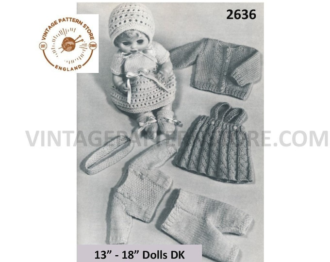 "60s vintage 13"" 14"" 15"" 16"" 17"" 18"" DK Dolls clothes pdf knitting pattern 7 items to knit Instant PDF Download 2636"