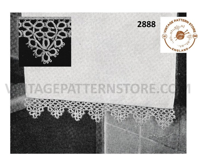 50s vintage tatted lace hand and guest towel lacy trimming edging pdf tatting pattern Makes to size Instant PDF Download 2888