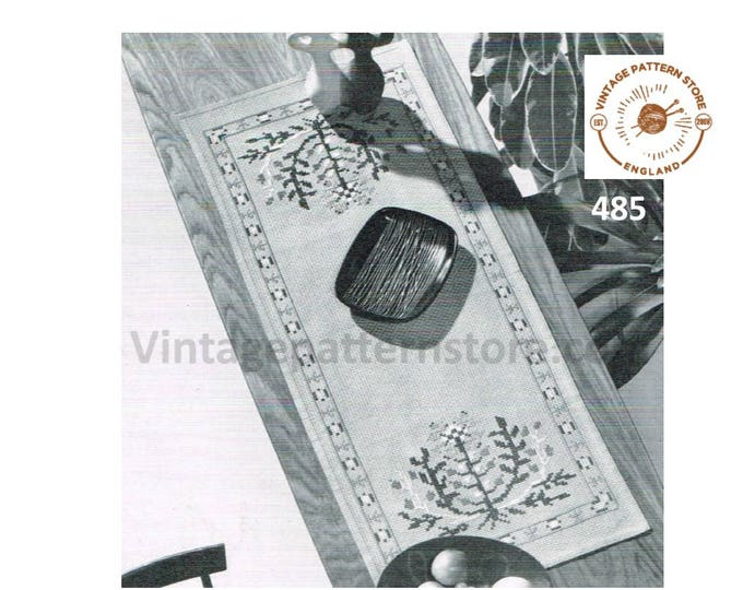 "70s vintage seascape embroidered rectangular table runner cloth pdf embroidery pattern 40.5"" by 16"" instant PDF Download 485"