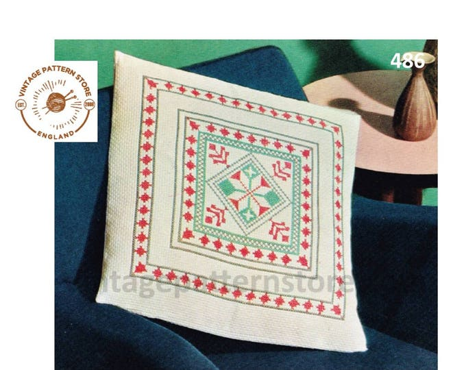 "70s vintage Spanish mosaic embroidered square cushion cover pdf embroidery pattern 19"" by 19"" Instant PDF Download 486"