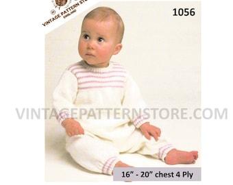 """Babies Baby 4 ply round neck striped yoke all in one onesie romper play suit pdf knitting pattern 16"""" to 20"""" chest Instant PDF Download 1056"""