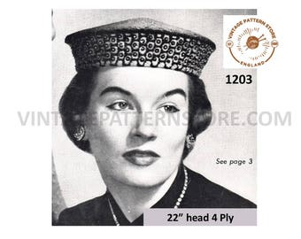 "Ladies 1950s, Mandarin Style Hat cap with optional sequin trim rim - 22"" Head Size - Vintage PDF Knitting Pattern 1203"