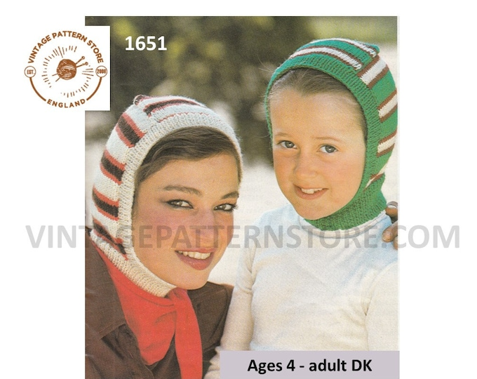 Family easy to knit 80s vintage striped DK balaclava helmet knitting pattern ages 4 to adult Instant PDF download 1651
