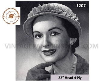 "Ladies 1950s, Boucle Hat with trim - 22"" Head Size - Vintage PDF Knitting Pattern 1207"