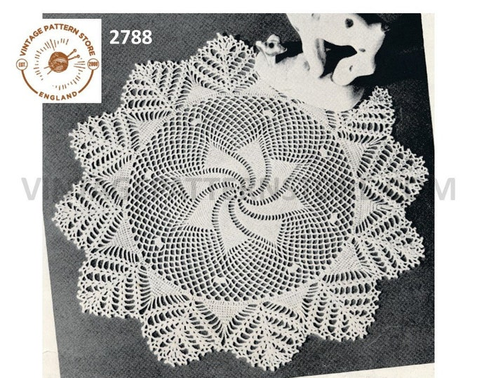 "40s vintage circular round fern leaf edged spiral star doily doilies table mat pdf crochet pattern 11"" diameter Instant PDF download 2788"