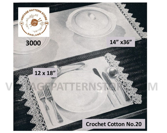 30s Vintage retro tatted lace lacy edge edging table runner place mat dining luncheon set pdf tatting pattern Instant PDF Download 3000