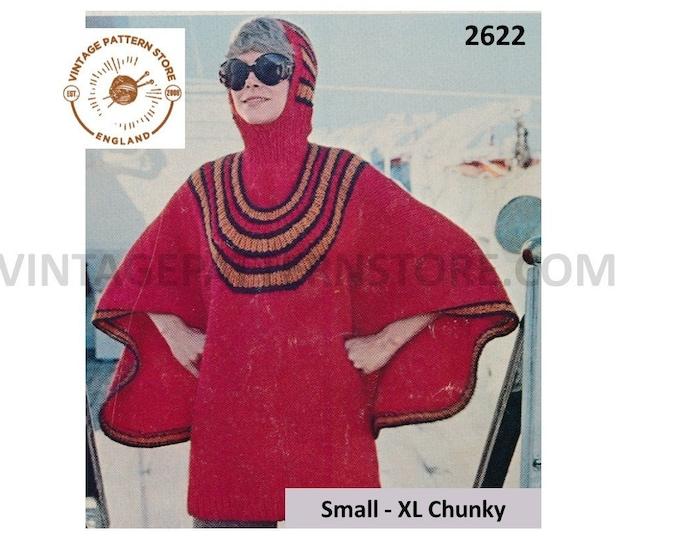 Ladies Womens 70s vintage chunky knit striped yoke yoked hooded balaclava poncho dress pdf knitting pattern Small to XL PDF download 2622