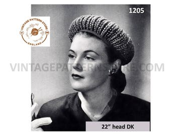 "Ladies 1950s, aureole halo hat with embroidery pearl trim - 22"" Head Size - Vintage PDF Knitting Pattern 1205"