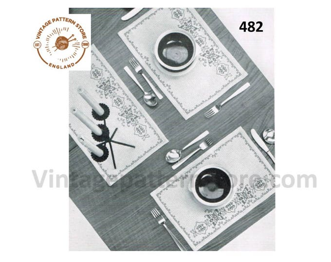 "70s vintage holbein stitch embroidered place mats dining set and centrepiece pdf embroidery pattern 17"" by 10.5"" & 15"" by 10.5"" Download 482"