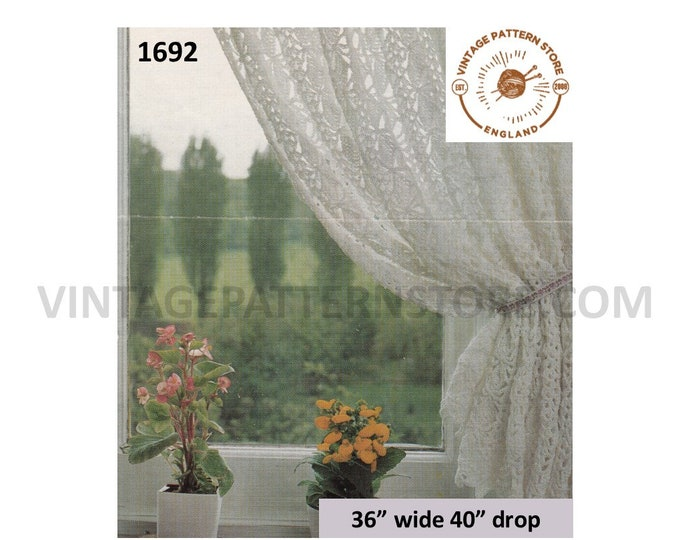 "70s vintage crochet lacy lace net curtain pdf crochet pattern 36"" wide 40"" drop Instant PDF Download 1692"