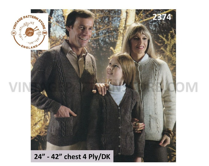 """Womens Ladies Mens Girls Boys 80s family V or round neck DK 4 ply cable cabled raglan cardigan pdf knitting pattern 24"""" to 42"""" download 2374"""