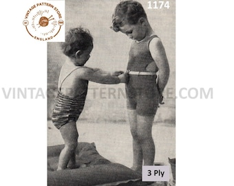 Toddlers and childrens girls boys, 1930s bathing swim suit - Vintage PDF Knitting Pattern 1174