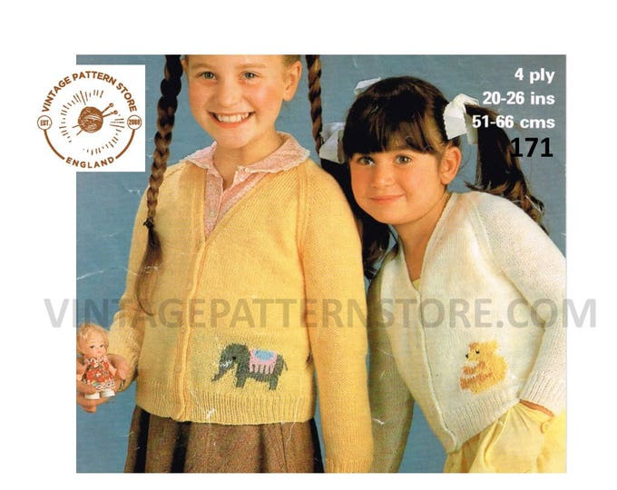 """Girls Toddlers elephant and teddy bear 4 ply V neck raglan intarsia cardigan pdf knitting pattern 20"""" to 26"""" chest Instant PDF download 171"""