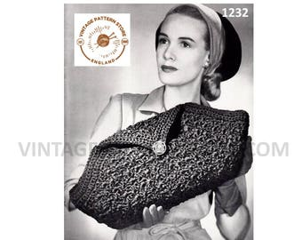 Ladies 1930s, Crochet, evening clutch bag purse - One Size - Vintage PDF Crochet Pattern 1232