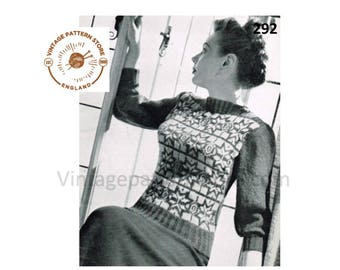 "Ladies 1940s, slash neck, fair isle, raglan sleeve sweater - 34"" chest - Vintage PDF Knitting Pattern 292"