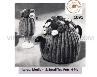 50s vintage easy to knit 4 ply rib ribbed floral egg and tea cosy PDF knitting pattern All Sizes Instant PDF Knitting Pattern 1091