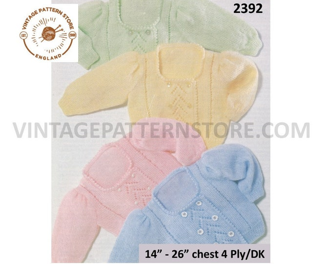 "Premature Preemie Baby Babies DK 4 ply picot square neck eyelet lace double breasted cardigan pdf knitting pattern 14"" to 26"" download 2392"