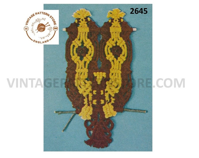 70s vintage beginners easy to make macrame wall hanging owl pdf macrame pattern Instant PDF download  2645