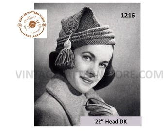 "Ladies 1950s, L'habitant tasselled cap hat - 22"" head Size - Vintage PDF Knitting Pattern 1216"