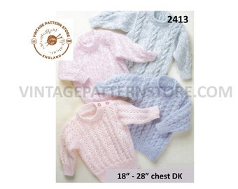 """Baby Babies Toddlers 90s DK easy to knit lacy textured and cable cabled raglan sweater jumper pdf knitting pattern 18"""" to 28"""" download 2413"""