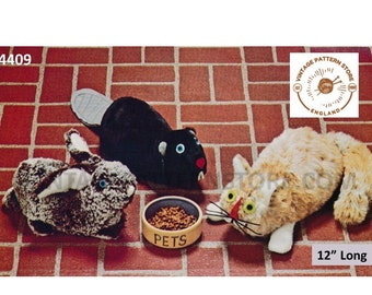 """70s vintage cuddly toy bean bag beanie animals beaver rabbit and cat pdf sewing pattern 12"""" Long or Makes to desired size PDF Download 4409"""
