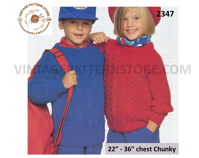 """Childrens Toddlers Boys Girls 90s crew neck chunky knit cable cabled raglan sweater jumper pdf knitting pattern 22"""" to 36"""" PDF Download 2347"""