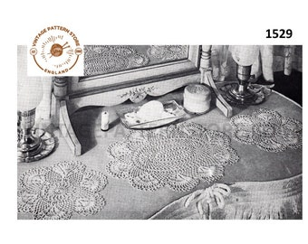 1940s, crochet scallop lace cheval dressing table set - Vintage PDF Crochet Pattern 1526