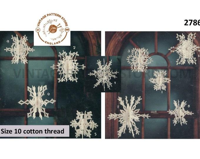 70s vintage snowflake Christmas tree decoration ornament pdf crochet pattern 10 designs makes to size Instant PDF download 2786