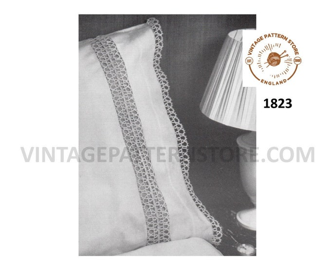 60s vintage tatted inset lace and lacy edging for pillowcase pdf tatting pattern Instant PDF download 1823