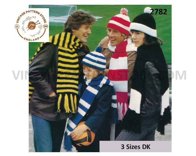 Mens Ladies Womens Boys Girls 70s vintage easy to knit DK striped fringed football scarf and hat pdf knitting pattern Instant Download 2782