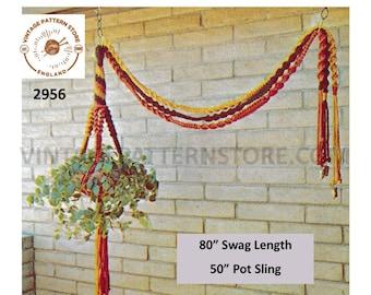 "70s vintage sling & swag macrame plant hanger pdf macrame pattern, 70s retro Indoor garden gardening 50"" long plus 80"" swag Download 2956"