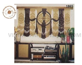 "70s vintage all seeing eye large macrame wall hanging pdf macrame pattern 6 foot 8"" wide by 3 foot long Instant PDF download 1865"