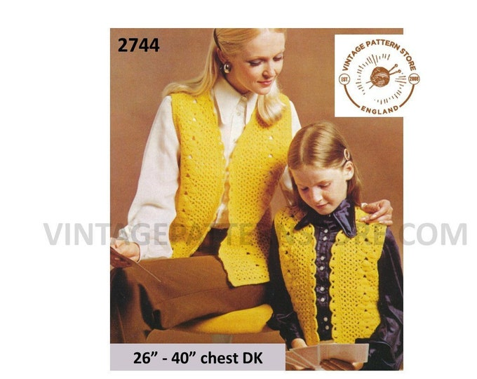 """Ladies Girls 70s vintage DK V neck lacy picot waistcoat sleeveless cardigan pdf crochet pattern 26"""" to 40"""" chest Instant PDF download 2744"""