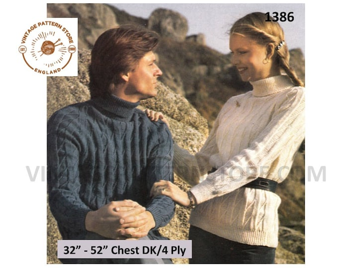 """Womens Mens 4 ply or DK oversized plus size extra large polo neck cabled raglan sweater jumper pdf knitting pattern 32"""" to 52"""" Download 1386"""
