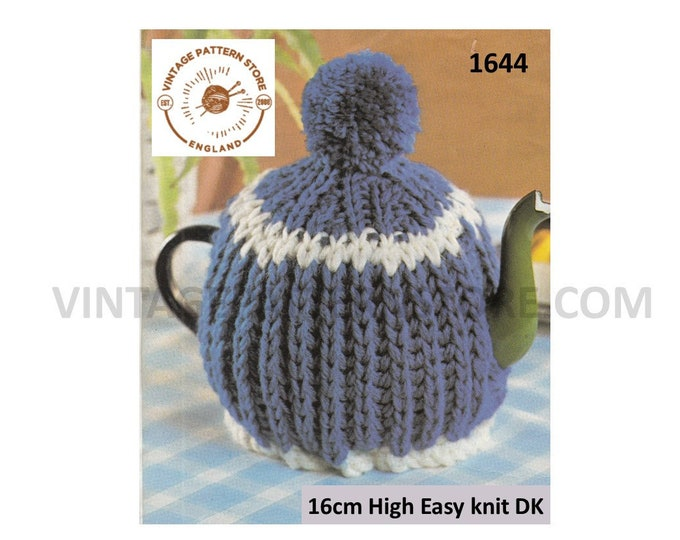 80s vintage fun beginners simple and easy to knit ribbed rib DK tea cosy pdf knitting pattern Instant PDF download 1644