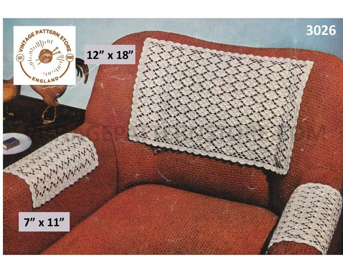 50s vintage settee sofa chair arm & back protector cover pdf crochet pattern Instant PDF download 3026