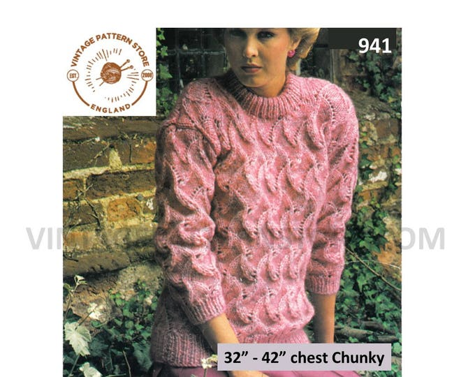 """Ladies Womens 80s aran chunky knit crew neck drop shoulder cable & lace raglan sweater jumper pdf knitting pattern 32"""" to 42"""" Download 941"""