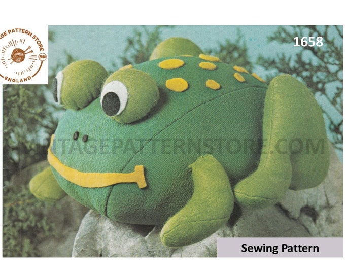 80s vintage cuddly toy frog toad weighted doorstop pdf sewing pattern makes to desired size Instant PDF Download 1658