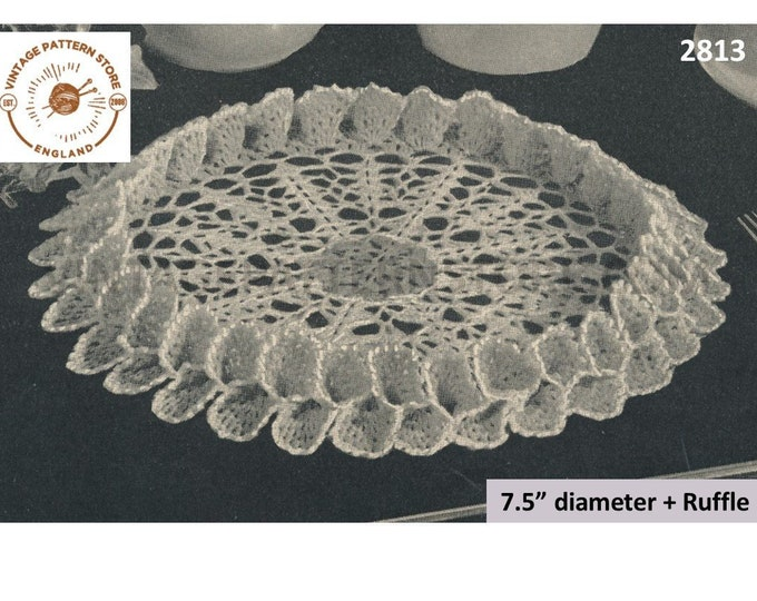 "40s vintage circular round ruffle edge lacy doily doilies pdf crochet pattern 7.5"" diameter Instant PDF download 2813"